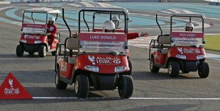 Luke Donald, Sergio Garcia, Matteo Manassero and Paul Casey raced around Yas Marina