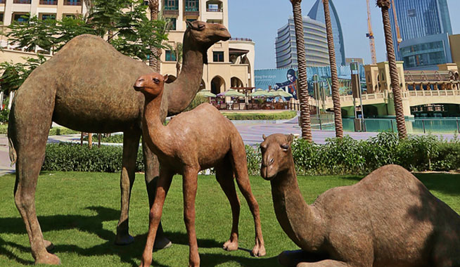 Camel sculpture in Downtown Dubai