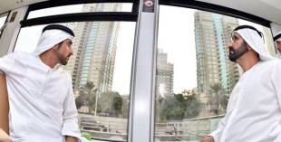 Sheikh Mohammed on the Dubai Tram