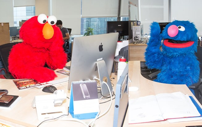 Elmo and Grover in Dubai