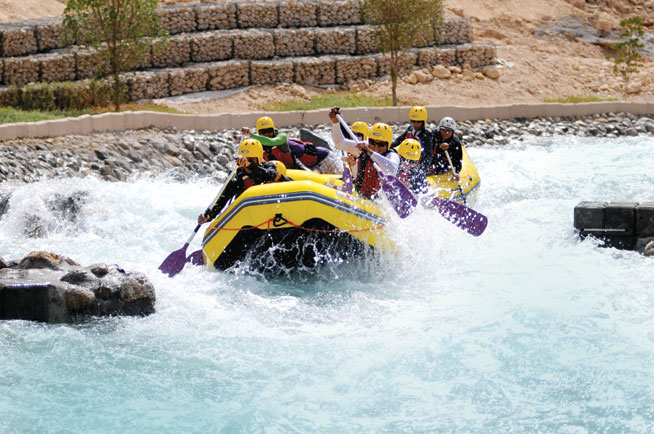 Whitewater rafting at Wadi Adventure