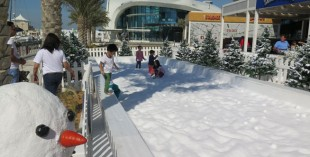 Yas Marina snowball fight - things to do in Abu Dhabi