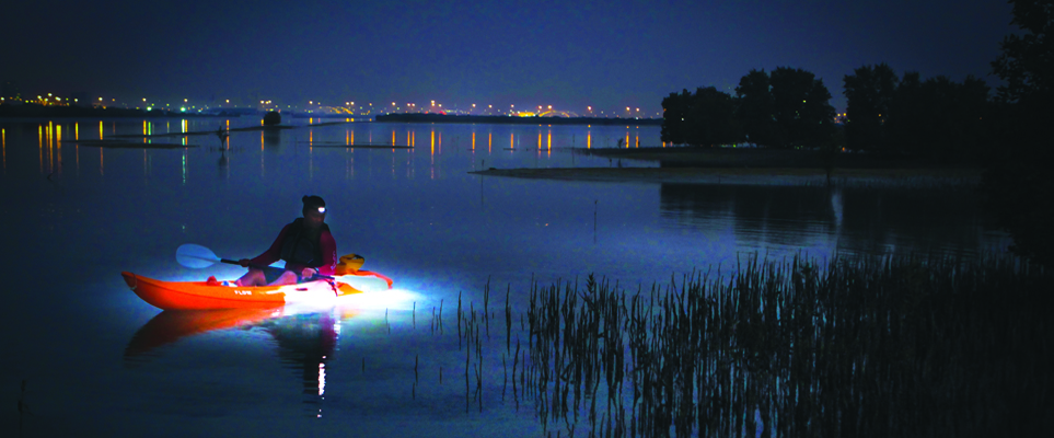 Kayak in the dark with noukhada adventure company what 39 s on for Kayak lights for night fishing