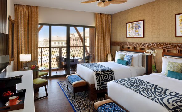 inside the polynesian themed lapita hotel at dubai parks