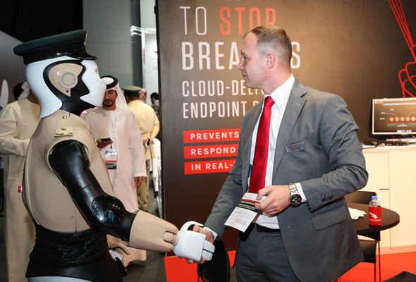 The worlds first robocop has officially joined dubai police greeting guests at the opening of the gulf information security expo and conference m4hsunfo