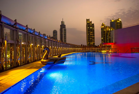 The burj khalifa has a brand new sunset rooftop pool party - Egyptian club dubai swimming pool ...