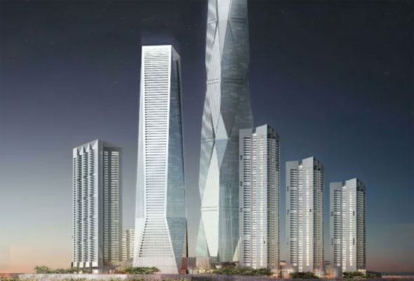 They've started building the first supertall tower at Uptown Dubai.