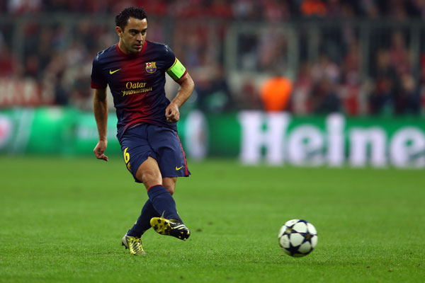 Xavi in action for Barcelona