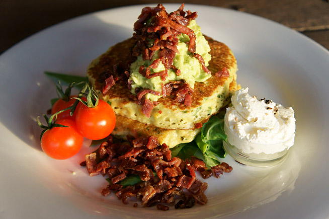 Sweetcorn fritters at Lime Tree Cafe
