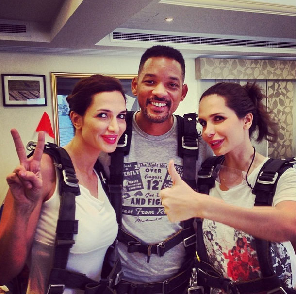 Will Smith skydiving in Dubai - picture credit instagram/daliaskitchen