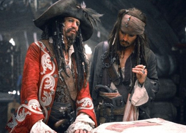 Keith Richards of the Rolling Stones appears in Pirates of the Caribbean