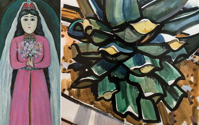 Left: A Woman With A Pie, Hsar Gassiev. Right: Yeni Aqavanin Dogulmasi (The Birth of the Artichoke), Tahir  Salahov