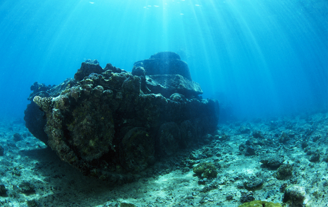 Tanks have been submerged off the coast of Dubai to encourage marine life and scubadiving (pictures from similar project in Papua New Guinea)