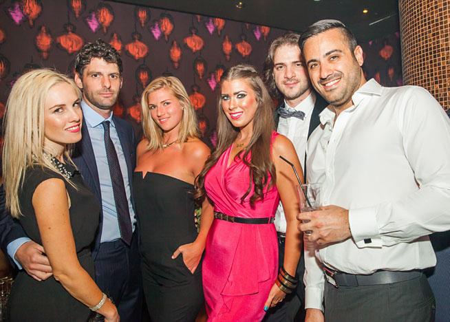 Carmen Shamley, Hamish Urquhart, Tamara Kemp, Anglina Gil Seed, Patrick and Serge Dfouni at Chinawhite Dubai official opening