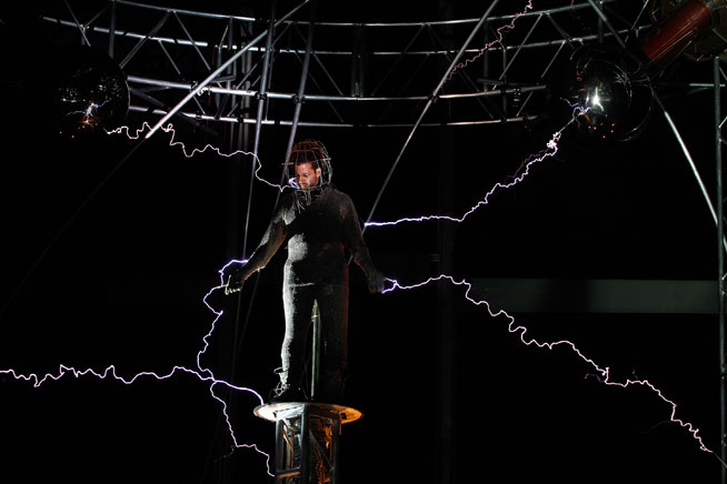 David Blaine in UAE. Pictured as part of his 'Electrified' show