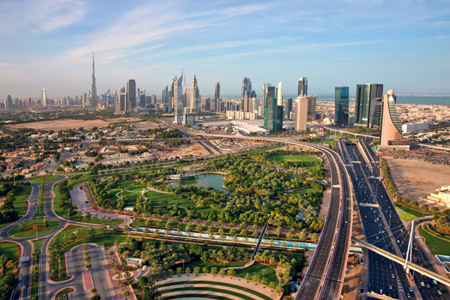 Pictures of Dubai Downtown from above. Al Mamzar Park