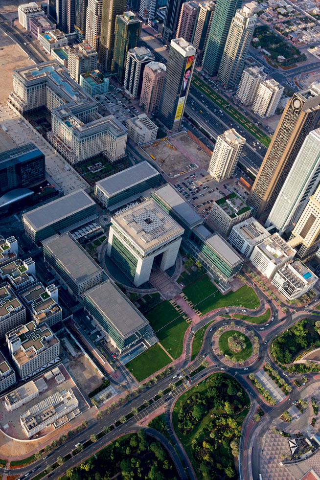 Pictures of Dubai Downtown from above. Emirates Towers and DIFC