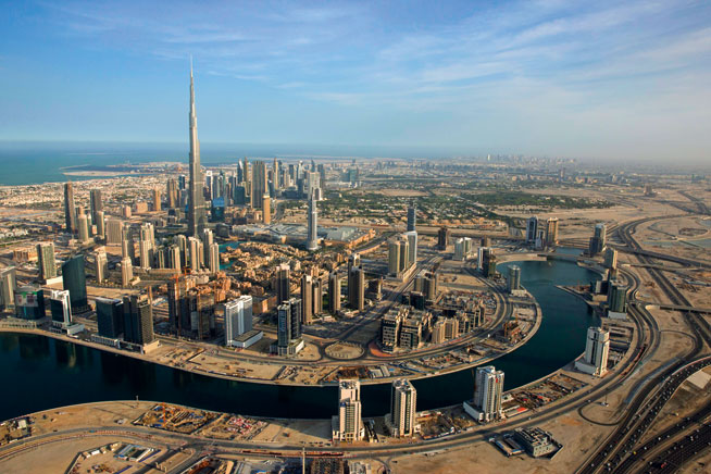 Pictures of Dubai Downtown from above. Burj Khalifa and Downtown