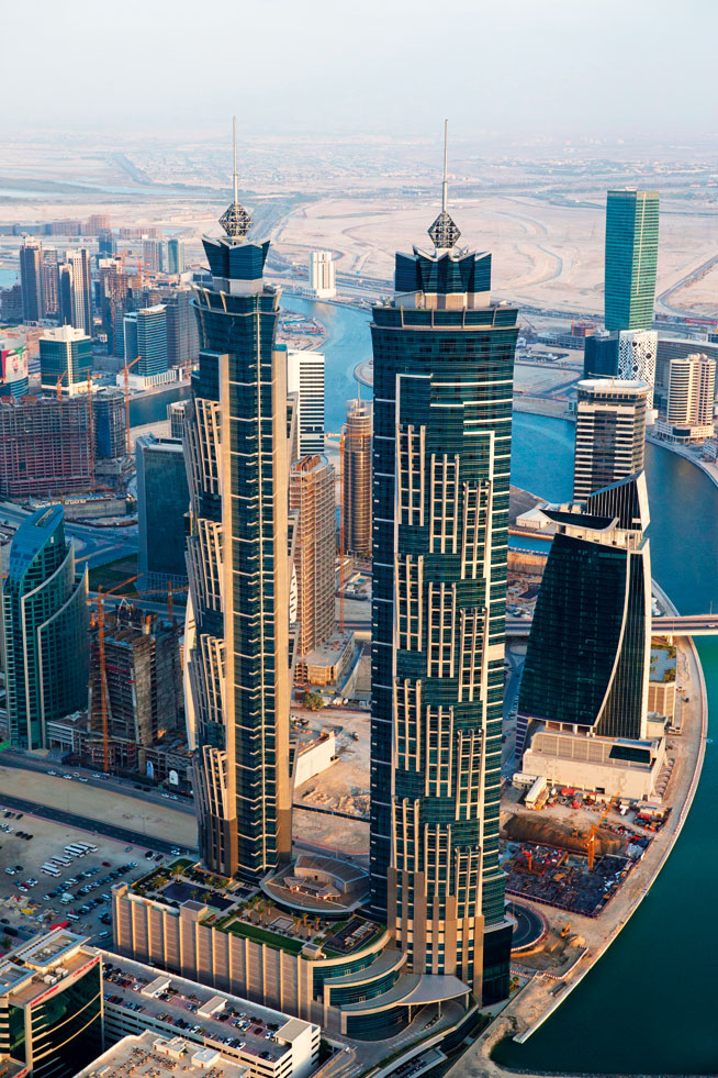 Pictures of Dubai Downtown from above. Business Bay
