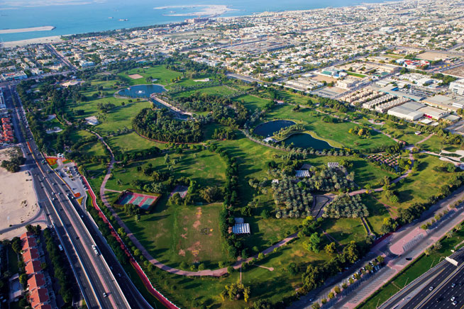 Pictures of Dubai Downtown from above. Safa Park