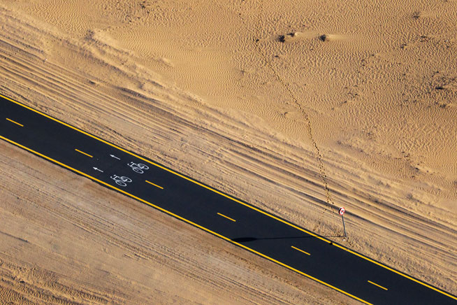 Pictures of Dubai desert from the sky