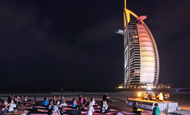 Full moon yoga at Madinat Jumeirah