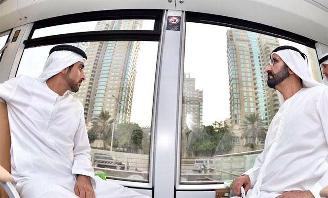 Sheikh Mohammed on the Dubai Tram