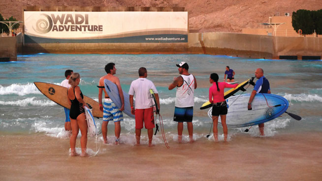 Surfing at Wadi Adventure