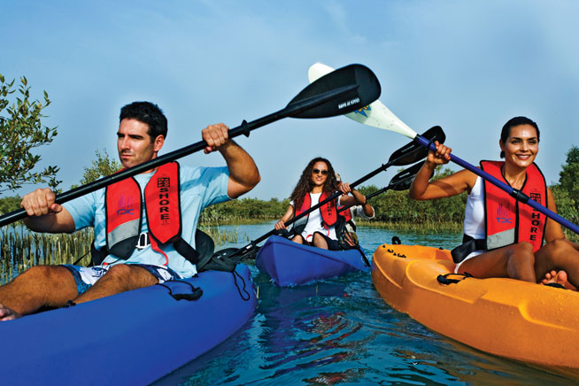 Kayaking in Abu Dhabi during Breast Cancer Awareness Month in Dubai