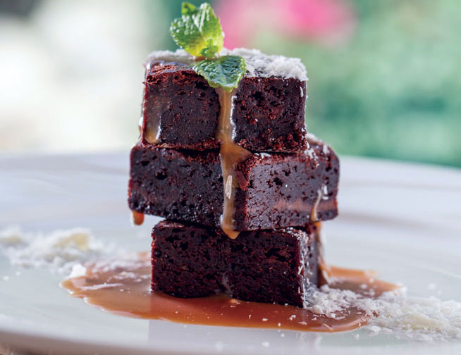 Best desserts in Dubai - Gluten-free brownie at The Farm