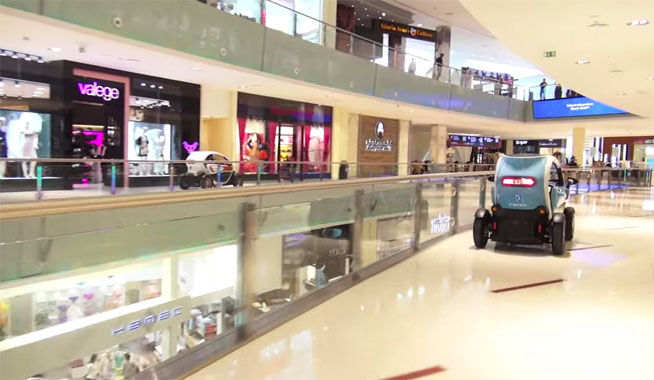 F1 drivers race Renault Twizy around Dubai Mall