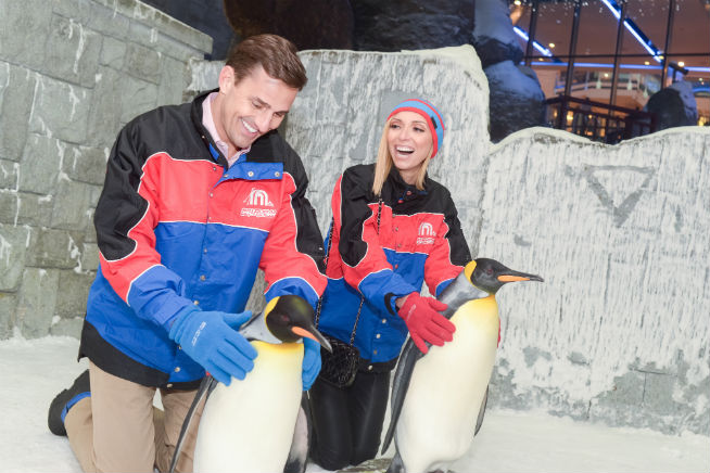 Celebrity couple Giuliana and Bill Rancic inside Ski Dubai
