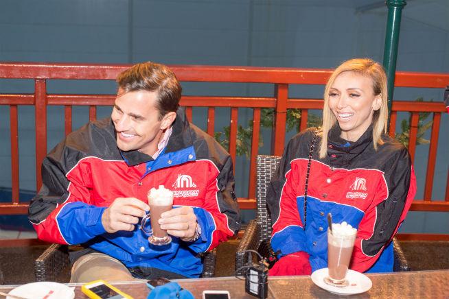 Celebrity couple Giuliana and Bill Rancic inside Ski Dubai