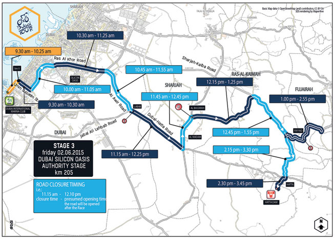 Dubai Tour road closures: Day Three