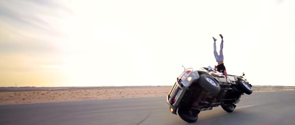 Abdulla Omar Alali stunt in Dubai for Bear Grylls