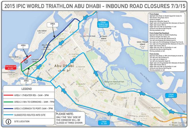 Abu Dhabi road closures for ITU World Series Triathlon