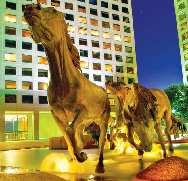 Public art; Mustangs, Texas, USA
