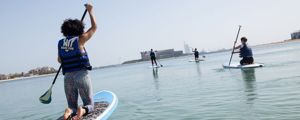 Paddleboard yoga in Abu Dhabi