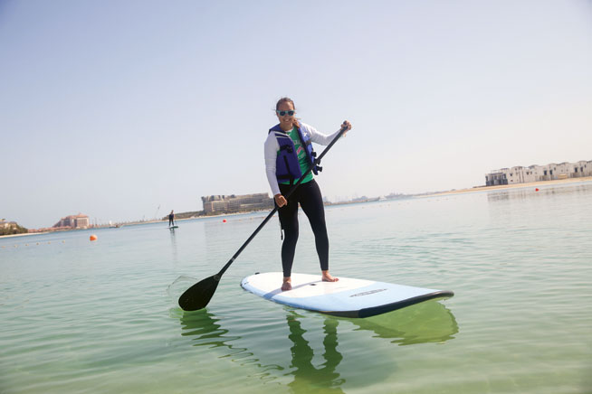 Stand-up paddleboarding in Dubai