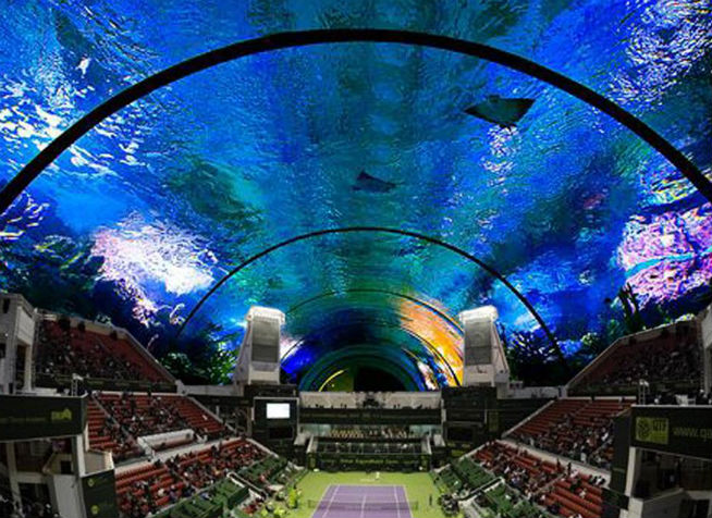 Underwater tennis stadium