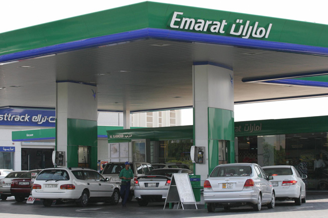 A picture shows a Gas station in Dubai,