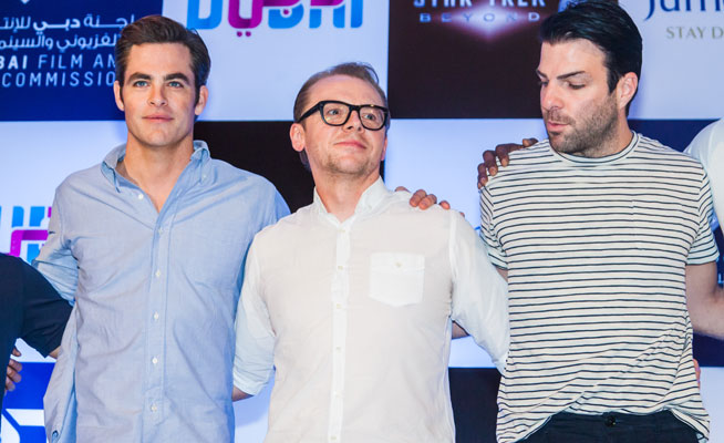 star trek press conference in Dubai chris pine, simon pegg, zachary quinto