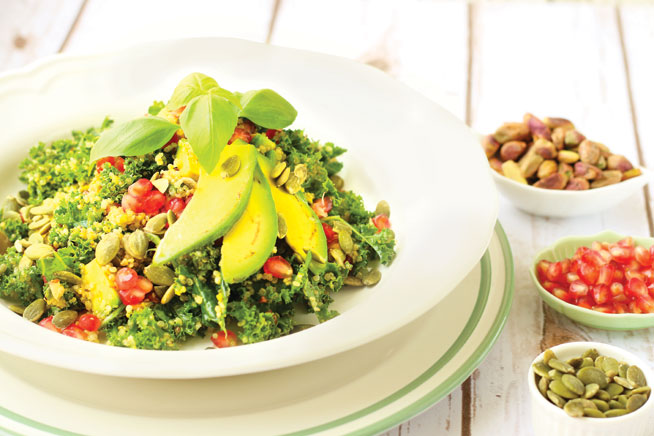 basiligo-Kale-Salad-with-Quinoa,-Pistachios,-&-Pomegranate-Seeds