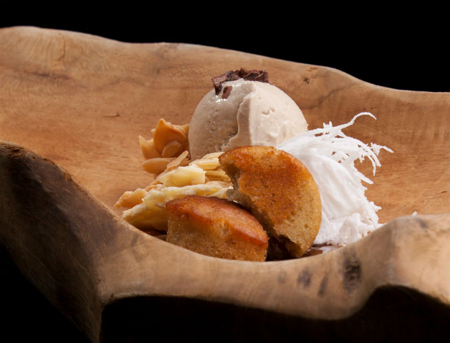 Banana Cake with Salted Ice Cream and Caramelized Milk