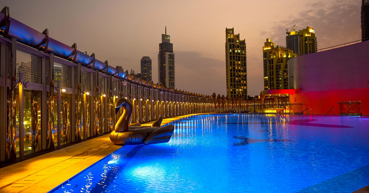 The Burj Khalifa Has A Brand New Sunset Rooftop Pool Party