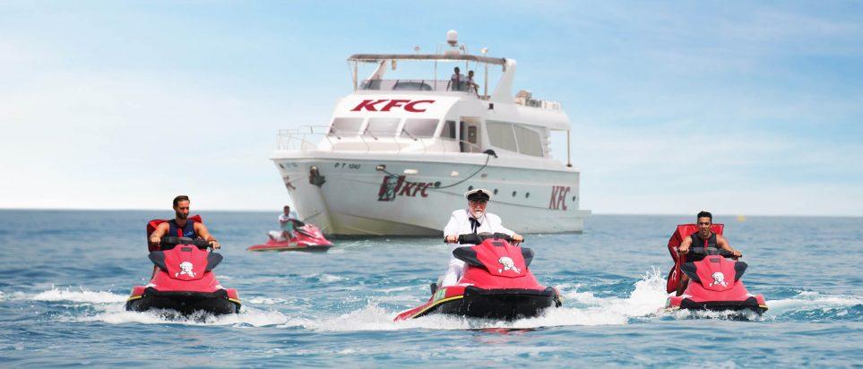 Kfc S Colonel Sanders Rode Onto Kite Beach On A Jet Ski Like Boss What Dubai