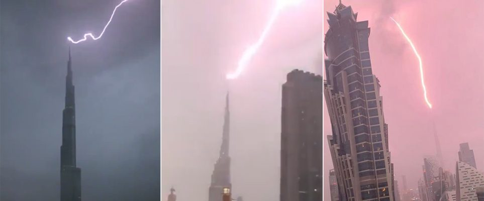Watch: Amazing footage of Burj Khalifa struck by lightning