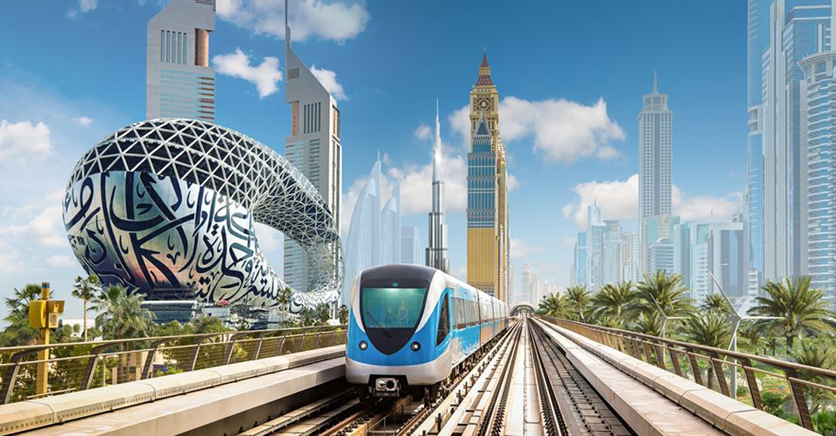dubai metro  public bus  taxi services and paid parking to
