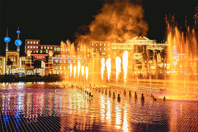 global village fire fountain show